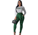 Casual Letter Printed Leopard 2 Piece Set Women Clothings