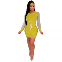 Casual Stitching Bandage Mini Dress
