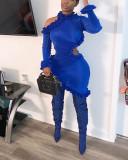 Solid Color Side Ruffle Irregular Dress