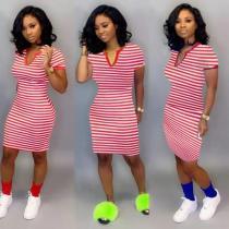 Casual Striped V Neck Club Dress