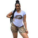 Casual Lip Print Leopard Shorts Set