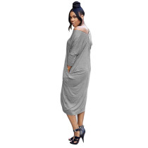 Plus Size Zipper Loose Mid Dress