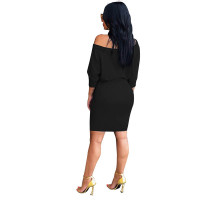 Skew Neck Solid Color Belted Dress