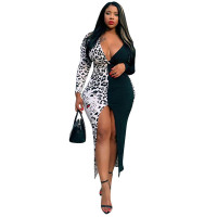 White-Black Leopard Irregular High-low Bodycon Banquet Dress