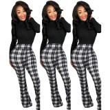 Plaid Pattern High Waisted Bell Bottom Flare Vintage Casual Long Pants