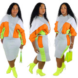 Hooded Colorblock Sweatshirt Two Piece Skirt Set