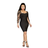 Casual Straps Sleeves Burnt Stitching Club Dress