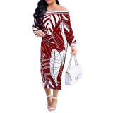 African Stitching Print Off Shoulder Mid Dresses