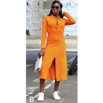 Turndown Collar Slit Hem Shirt Dress