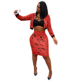 Ink Print Zipper Two Piece Bodycon Long Sleeve Casual Party Midi Dress