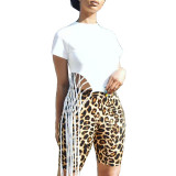 Irregular Fringed Top Leopard-Print Shorts Set