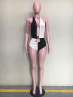 Sexy Backless Stitching Swimsuit