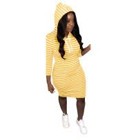 Krystal Striped Hooded Sweatshirt Dress