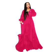 Chiffon Long Sleeves Wrapped Maxi Dress
