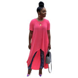 Asymmetric Hem Solid Color Casual Dress