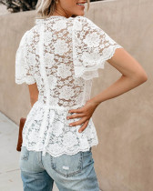 Remember Me Lace Peplum Top - White