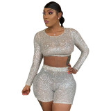 Sequined Crop Top and Shorts Set