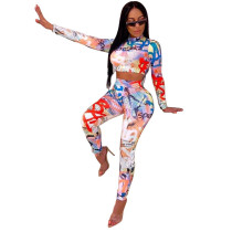 Casual Printed Crop Top and Trousers