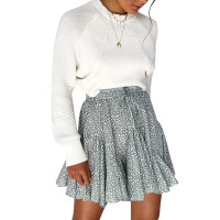 Lace-up Floral Ruffled Skirt