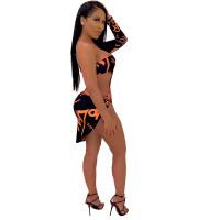 One Shoulder Print Stitching Cutout Sexy Dress