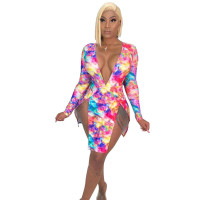 Sexy High Slit Mini Dress