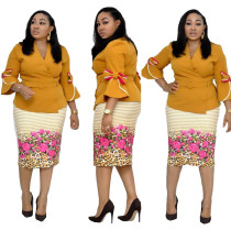 Africa Printed Belted Flare Sleeve Two Piece Set