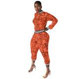 Snake Skin Print Zipper High Waisted Two Piece Clubwear