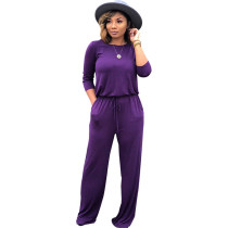 Solid Color 3/4 Sleeve Jumpsuit