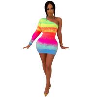Corduroy Print Gradient Mini Dress