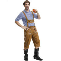 Halloween Carnival Oktoberfest Beer Lederhosen Men's Blouse Pants Hat Bavarian Costume