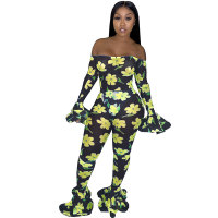Party Off Shoulder See-through Floral Print Flare Leg Jumpsuit(no underwear)