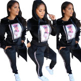 Hooded Drawstring Printed Two Piece Outfits