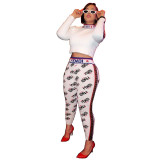 Casual Letter Print Two Piece Set