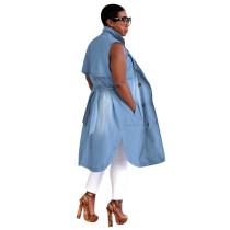 Casual Sleeveless Bandage Midi Denim Dress