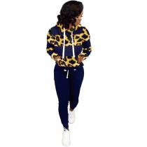 Casual Leopard Sports Hooded Sweatshirt Pant Set