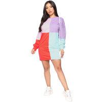 Long Sleeve Contrast Color Mini Dress