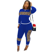 Autumn and Winter Leopard Stitching Casual Sport Set