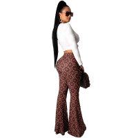 Casual Lip Print Long Sleeve Top + High Waist Flare Pants