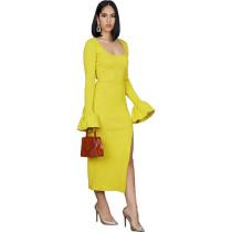 Solid Color Trumpet Sleeves High Slit Irregular Dress