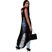 Hollowed Out Printed Irregular Dress
