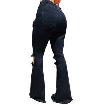 Joker Hole Denim Trousers with Wide Leg