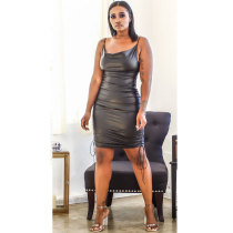 Pu Leather Straps Dress