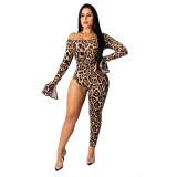 Casual Off Shoulder Leopard Jumpsuit