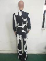 Casual Print Cardigan Jumpsuit