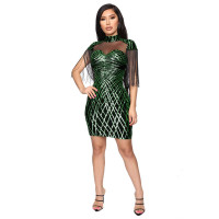 Sexy Mesh Sequined Fringed Bodycon Dress