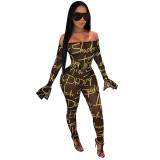 Casual Printed Off The Shoulder Ruffle Sleeves Jumpsuits