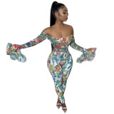 Off Shoulder Floral Print Jumpsuit