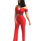Sexy Spaghetti Straps Off The Shoulder Pink One-piece Jumpsuit(Without Belt)