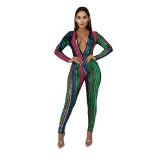 Sexy Sequins V Neck Zipper Jumpsuit