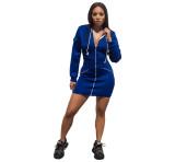 Solid Color Hooded Zipper Club Dress